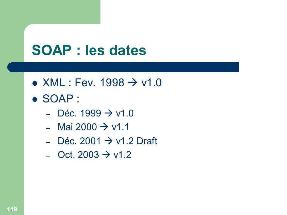 119 SOAP : les dates XML : Fev. 1998 v1.0 SOAP : – Déc. 1999 v1.0 – Mai 2000 v1.1 – Déc. 2001 v1.2 Draft – Oct. 2003 v1.2