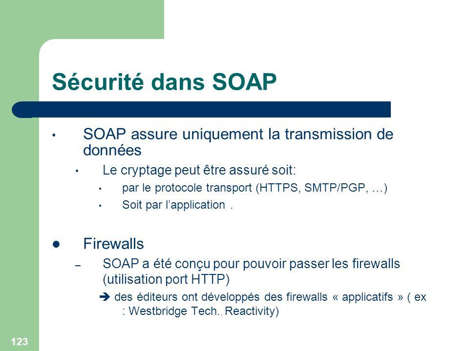 123 Sécurité dans SOAP SOAP assure uniquement la transmission de données Le cryptage peut être assuré soit: par le protocole transport (HTTPS, SMTP/PG