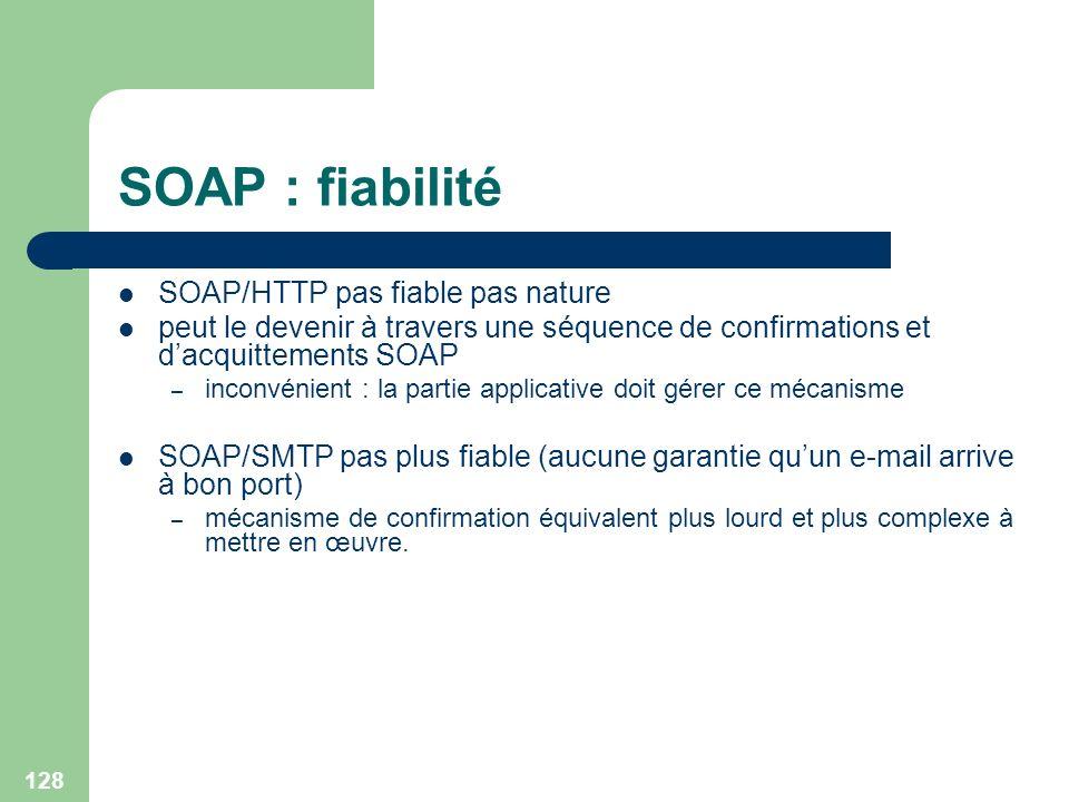 128 SOAP : fiabilité SOAP/HTTP pas fiable pas nature peut le devenir à travers une séquence de confirmations et dacquittements SOAP – inconvénient : l