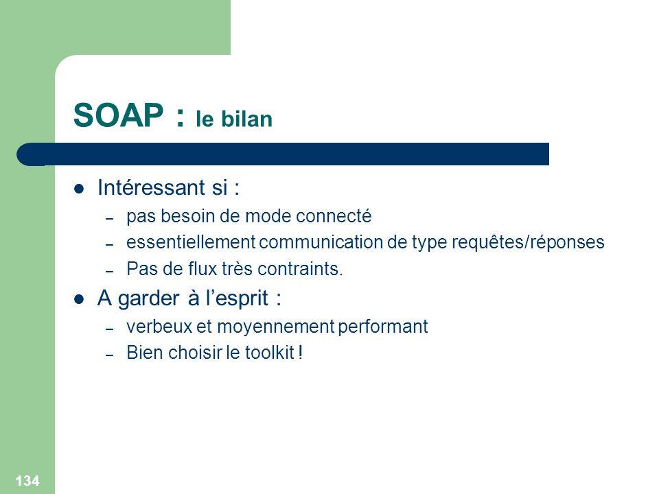 134 SOAP : le bilan Intéressant si : – pas besoin de mode connecté – essentiellement communication de type requêtes/réponses – Pas de flux très contra