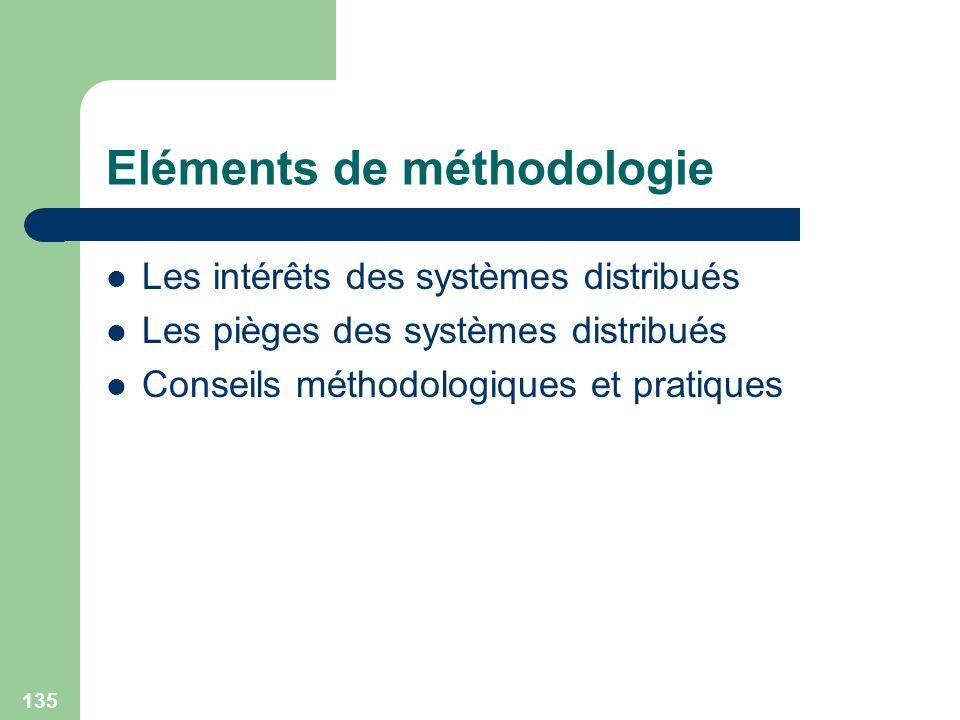 135 Eléments de méthodologie Les intérêts des systèmes distribués Les pièges des systèmes distribués Conseils méthodologiques et pratiques