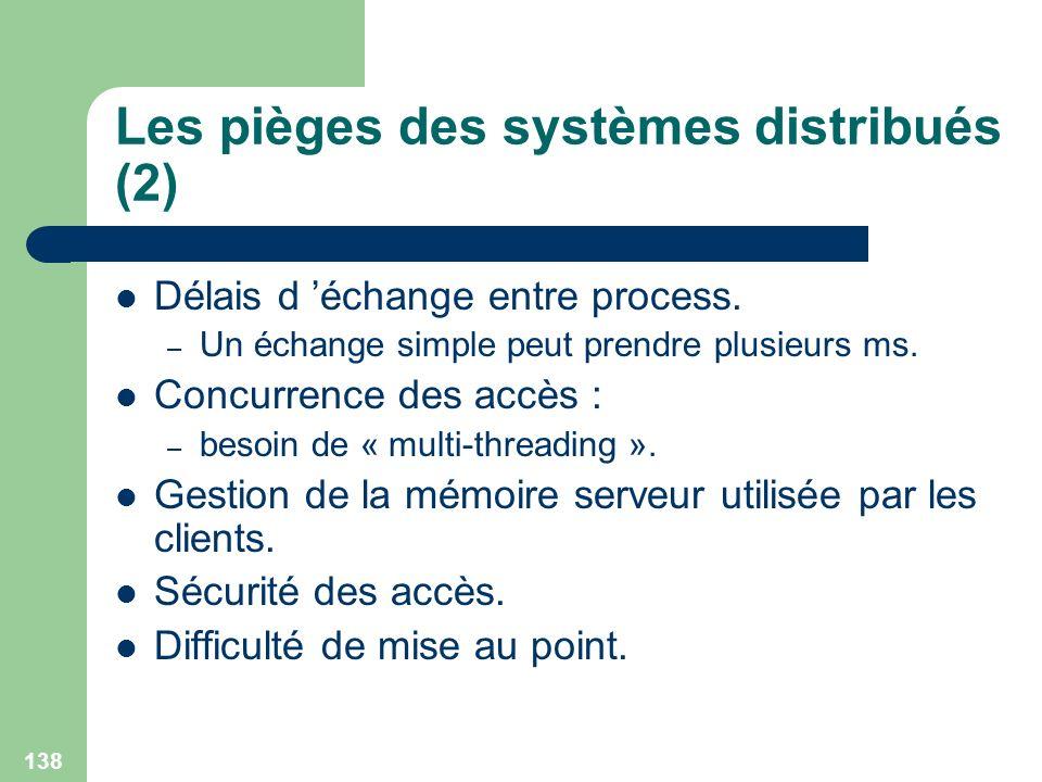 138 Les pièges des systèmes distribués (2) Délais d échange entre process. – Un échange simple peut prendre plusieurs ms. Concurrence des accès : – be