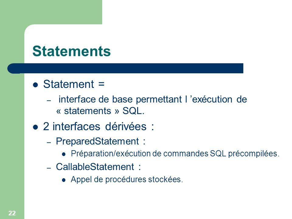 22 Statements Statement = – interface de base permettant l exécution de « statements » SQL. 2 interfaces dérivées : – PreparedStatement : Préparation/