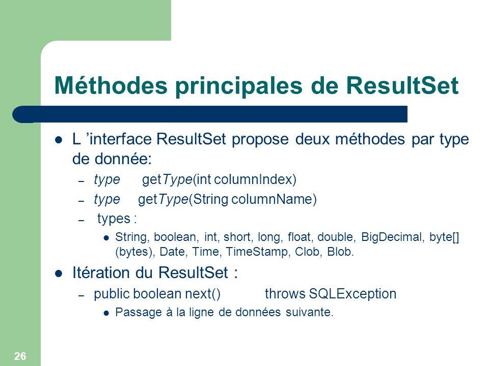 26 Méthodes principales de ResultSet L interface ResultSet propose deux méthodes par type de donnée: – type getType(int columnIndex) – type getType(St