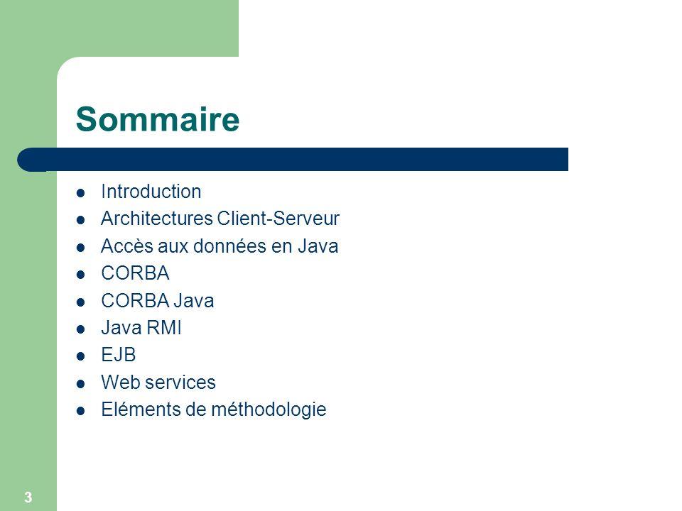 3 Sommaire Introduction Architectures Client-Serveur Accès aux données en Java CORBA CORBA Java Java RMI EJB Web services Eléments de méthodologie