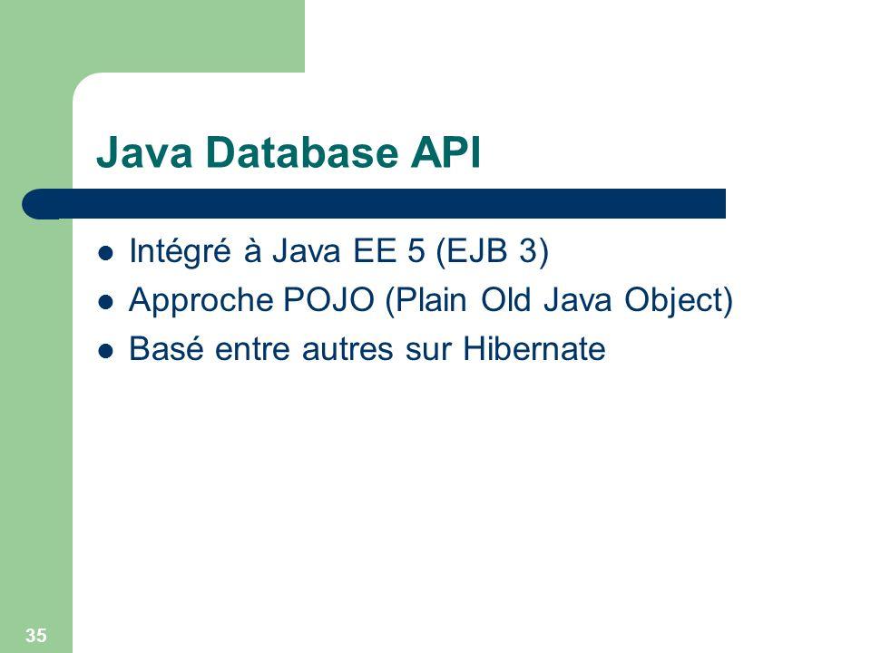 35 Java Database API Intégré à Java EE 5 (EJB 3) Approche POJO (Plain Old Java Object) Basé entre autres sur Hibernate
