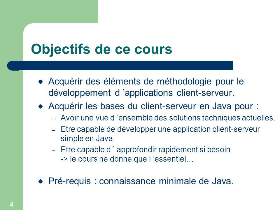 4 Objectifs de ce cours Acquérir des éléments de méthodologie pour le développement d applications client-serveur. Acquérir les bases du client-serveu