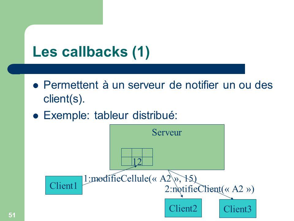 51 Serveur Les callbacks (1) Permettent à un serveur de notifier un ou des client(s). Exemple: tableur distribué: 12 Client1 1:modifieCellule(« A2 »,