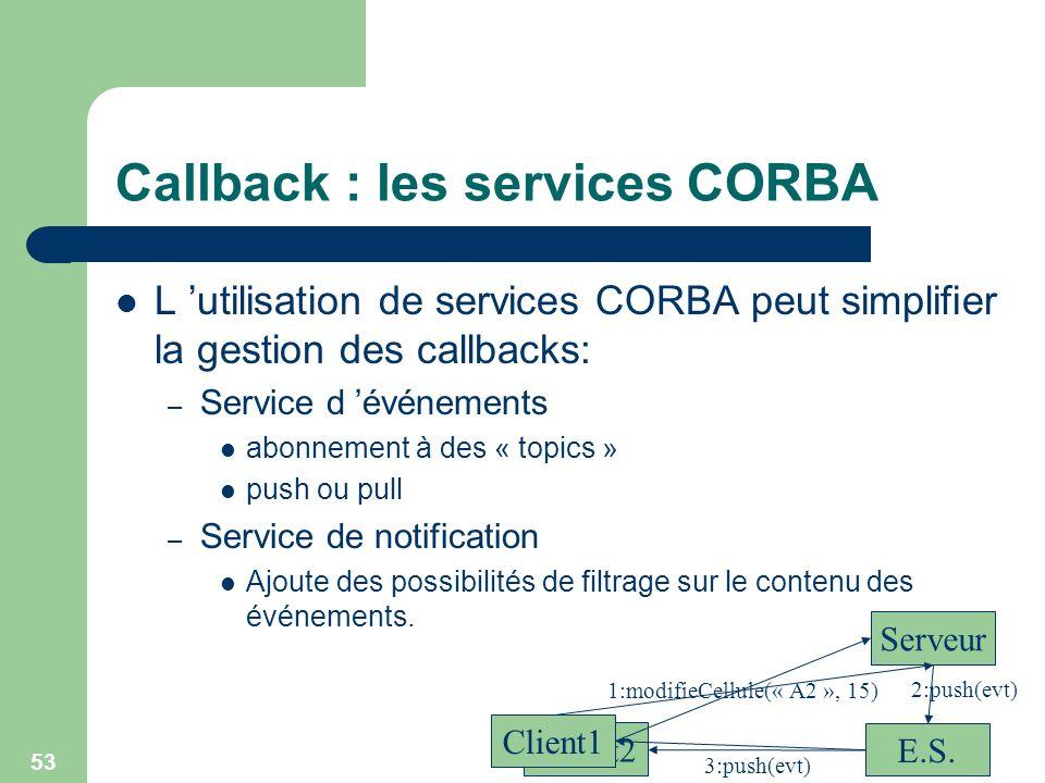 53 Callback : les services CORBA L utilisation de services CORBA peut simplifier la gestion des callbacks: – Service d événements abonnement à des « t