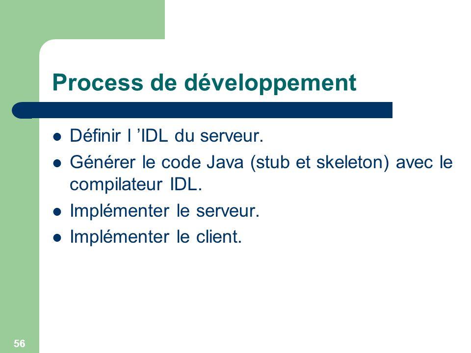 56 Process de développement Définir l IDL du serveur. Générer le code Java (stub et skeleton) avec le compilateur IDL. Implémenter le serveur. Impléme