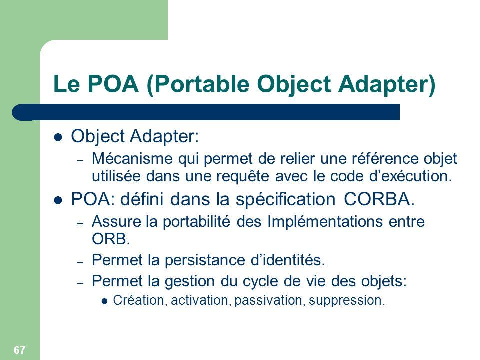 67 Le POA (Portable Object Adapter) Object Adapter: – Mécanisme qui permet de relier une référence objet utilisée dans une requête avec le code dexécu