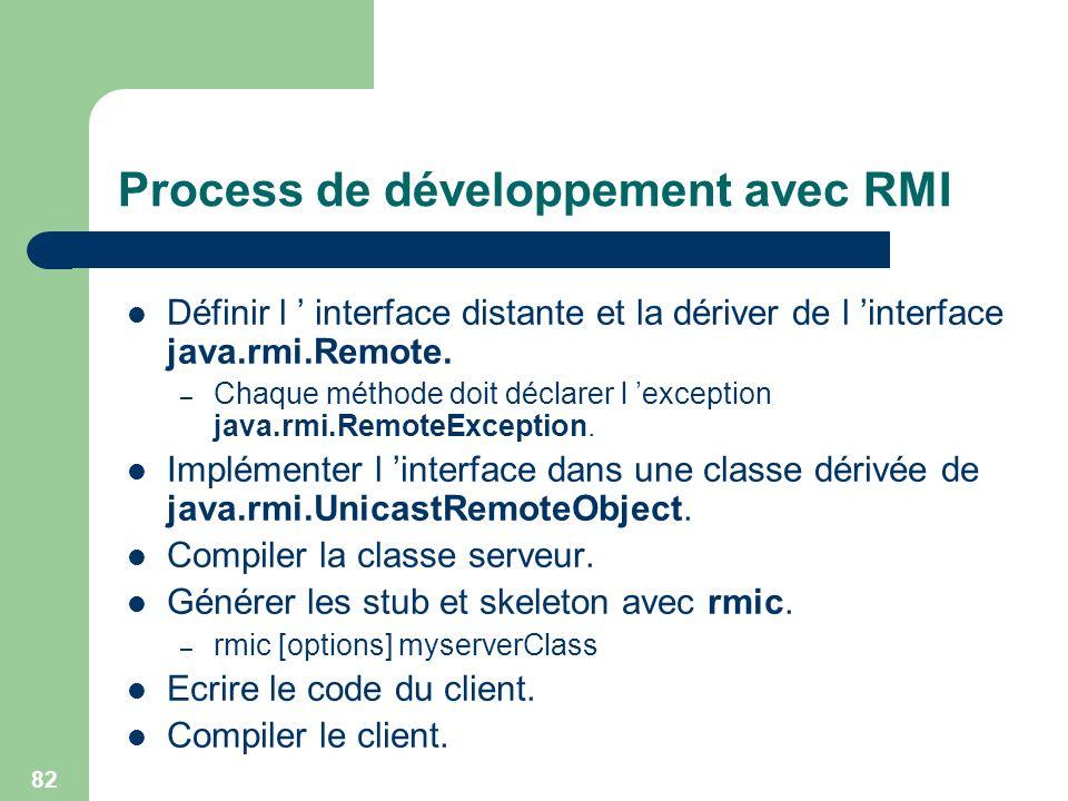 82 Process de développement avec RMI Définir l interface distante et la dériver de l interface java.rmi.Remote. – Chaque méthode doit déclarer l excep