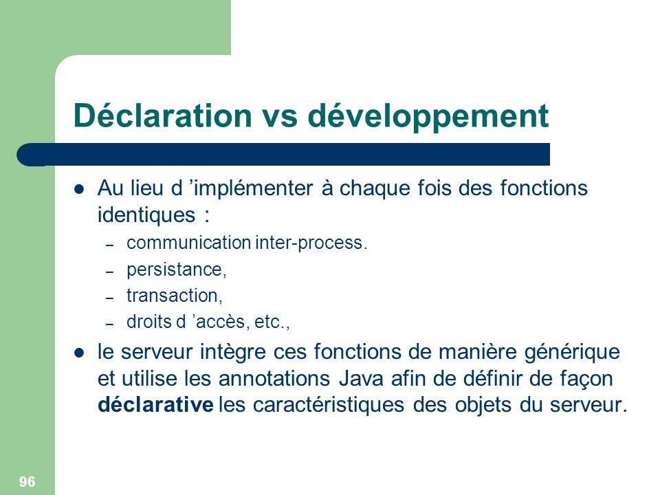 96 Déclaration vs développement Au lieu d implémenter à chaque fois des fonctions identiques : – communication inter-process. – persistance, – transac