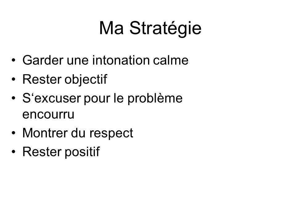 Ma Stratégie Garder une intonation calme Rester objectif Sexcuser pour le problème encourru Montrer du respect Rester positif