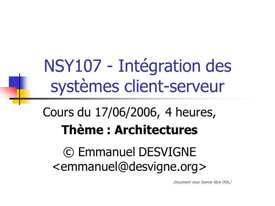 NSY107 - Intégration des systèmes client-serveur Cours du 17/06/2006, 4 heures, Thème : Architectures © Emmanuel DESVIGNE Document sous licence libre (FDL)