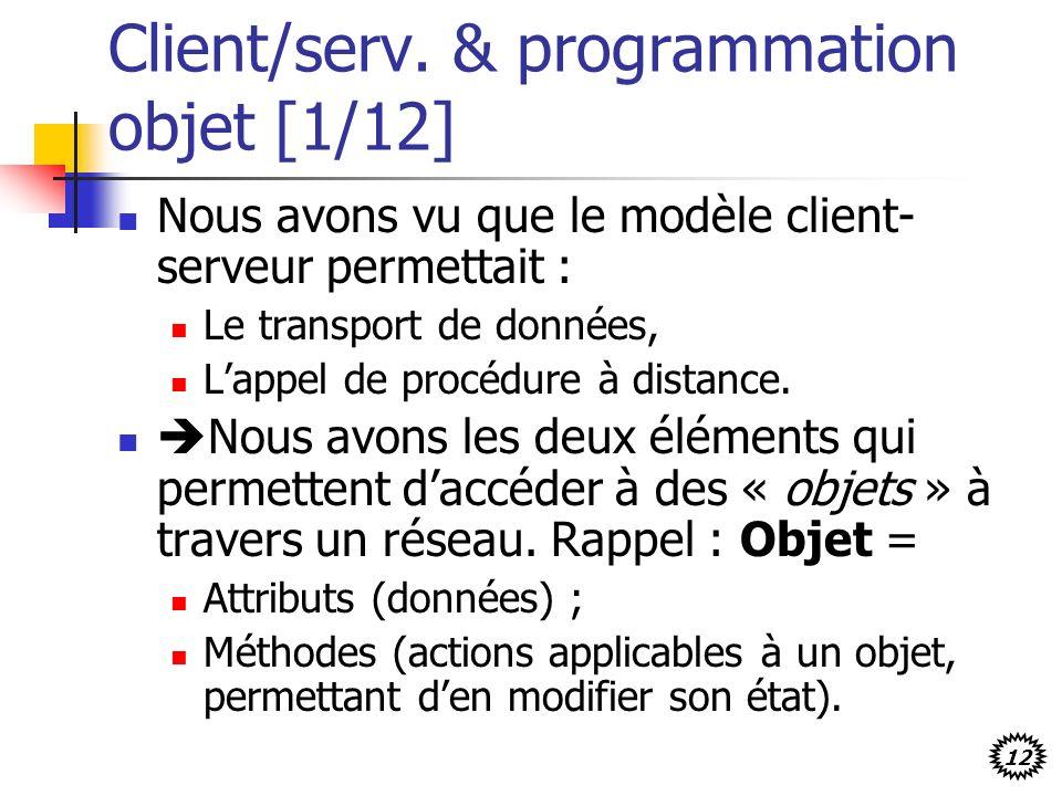 12 Client/serv. & programmation objet [1/12] Nous avons vu que le modèle client- serveur permettait : Le transport de données, Lappel de procédure à d