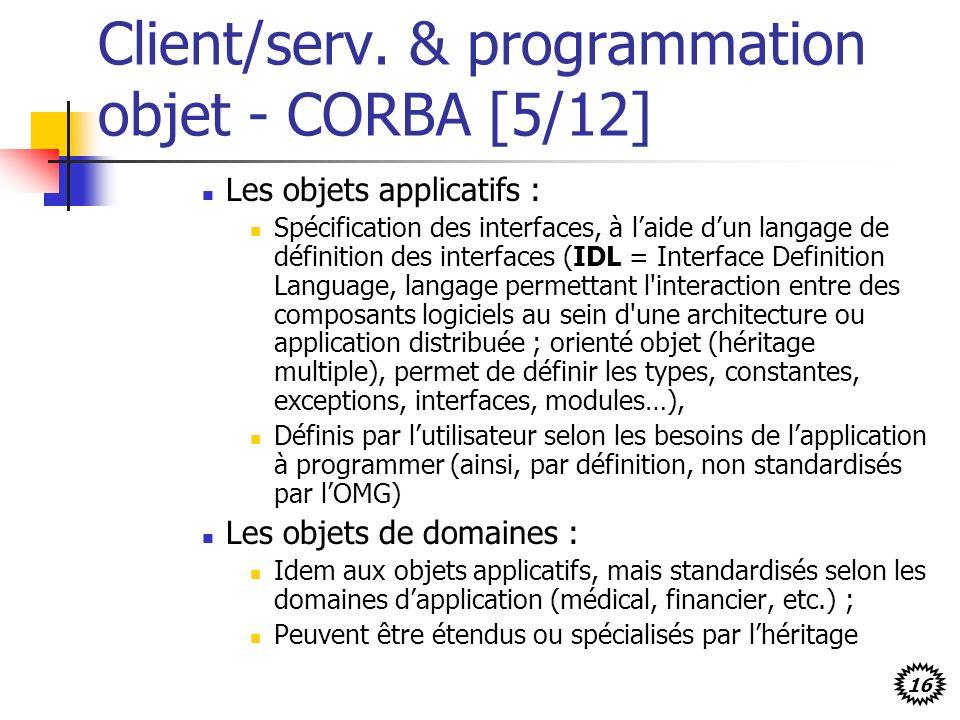 16 Client/serv. & programmation objet - CORBA [5/12] Les objets applicatifs : Spécification des interfaces, à laide dun langage de définition des inte