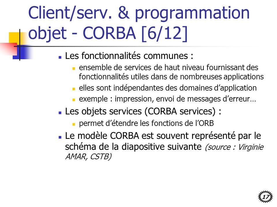17 Client/serv. & programmation objet - CORBA [6/12] Les fonctionnalités communes : ensemble de services de haut niveau fournissant des fonctionnalité