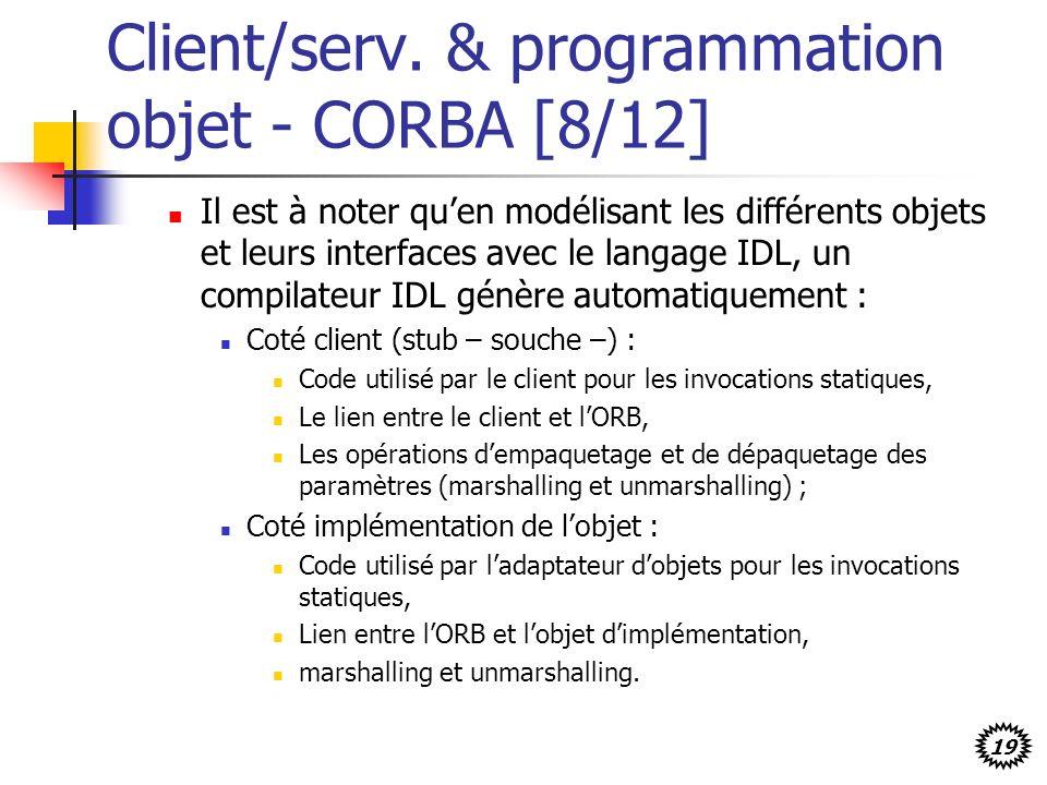 19 Client/serv. & programmation objet - CORBA [8/12] Il est à noter quen modélisant les différents objets et leurs interfaces avec le langage IDL, un