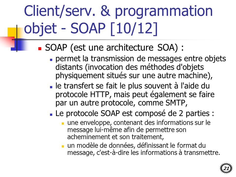 21 Client/serv. & programmation objet - SOAP [10/12] SOAP (est une architecture SOA) : permet la transmission de messages entre objets distants (invoc