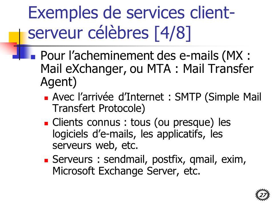 27 Exemples de services client- serveur célèbres [4/8] Pour lacheminement des e-mails (MX : Mail eXchanger, ou MTA : Mail Transfer Agent) Avec larrivée dInternet : SMTP (Simple Mail Transfert Protocole) Clients connus : tous (ou presque) les logiciels de-mails, les applicatifs, les serveurs web, etc.