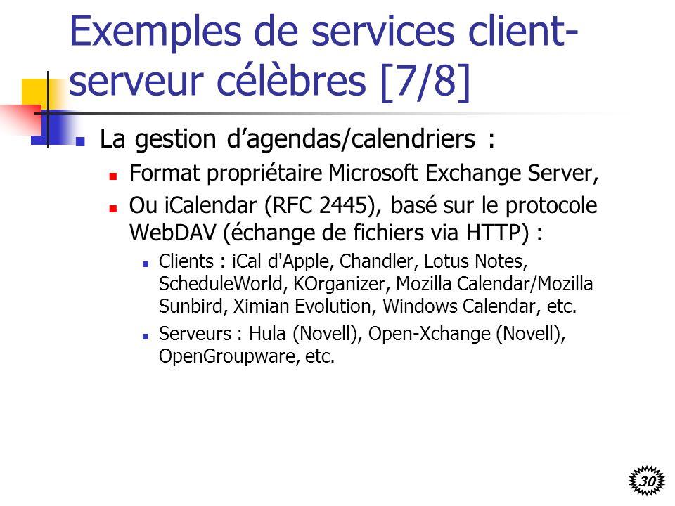 30 Exemples de services client- serveur célèbres [7/8] La gestion dagendas/calendriers : Format propriétaire Microsoft Exchange Server, Ou iCalendar (