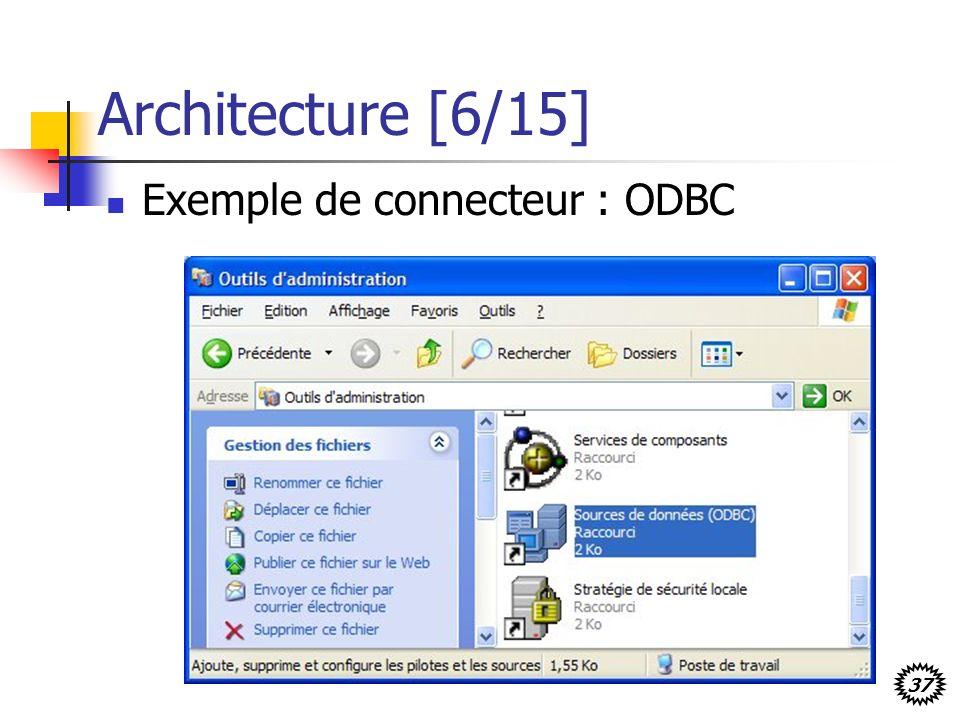 37 Architecture [6/15] Exemple de connecteur : ODBC