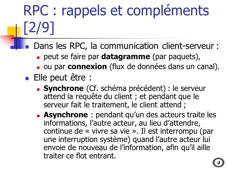 4 RPC : rappels et compléments [2/9] Dans les RPC, la communication client-serveur : peut se faire par datagramme (par paquets), ou par connexion (flux de données dans un canal).