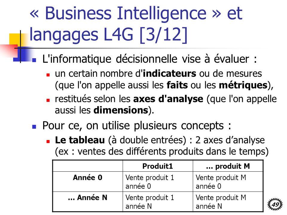 49 « Business Intelligence » et langages L4G [3/12] L informatique décisionnelle vise à évaluer : un certain nombre d indicateurs ou de mesures (que l on appelle aussi les faits ou les métriques), restitués selon les axes d analyse (que l on appelle aussi les dimensions).