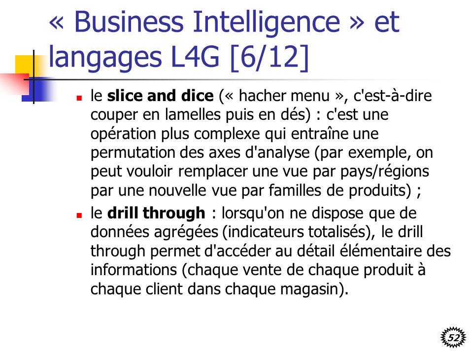 52 « Business Intelligence » et langages L4G [6/12] le slice and dice (« hacher menu », c est-à-dire couper en lamelles puis en dés) : c est une opération plus complexe qui entraîne une permutation des axes d analyse (par exemple, on peut vouloir remplacer une vue par pays/régions par une nouvelle vue par familles de produits) ; le drill through : lorsqu on ne dispose que de données agrégées (indicateurs totalisés), le drill through permet d accéder au détail élémentaire des informations (chaque vente de chaque produit à chaque client dans chaque magasin).