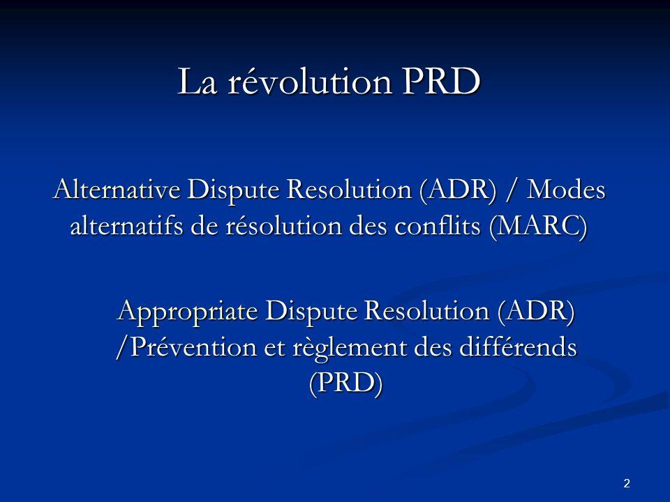 2 La révolution PRD Alternative Dispute Resolution (ADR) / Modes alternatifs de résolution des conflits (MARC) Appropriate Dispute Resolution (ADR) /P