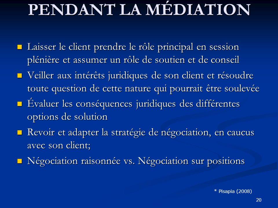20 Laisser le client prendre le rôle principal en session plénière et assumer un rôle de soutien et de conseil Laisser le client prendre le rôle princ