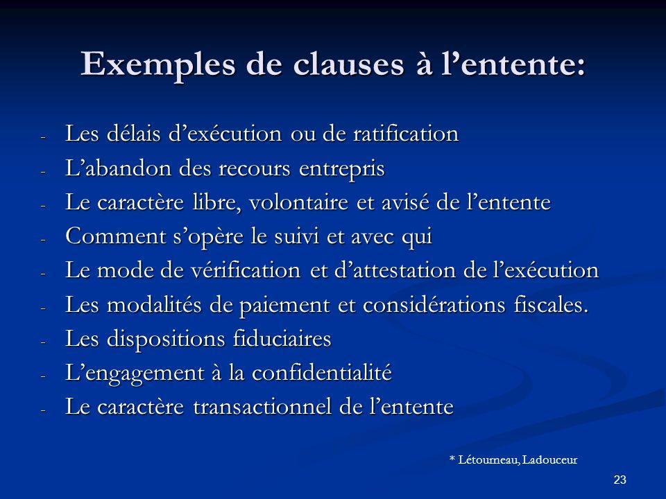 23 Exemples de clauses à lentente: - Les délais dexécution ou de ratification - Labandon des recours entrepris - Le caractère libre, volontaire et avi