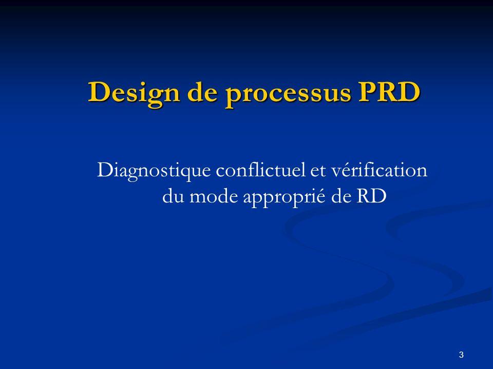 3 Design de processus PRD Diagnostique conflictuel et vérification du mode approprié de RD