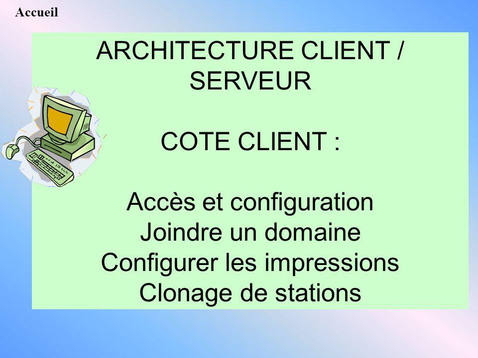 Accueil ARCHITECTURE CLIENT / SERVEUR COTE CLIENT : Accès et configuration Joindre un domaine Configurer les impressions Clonage de stations