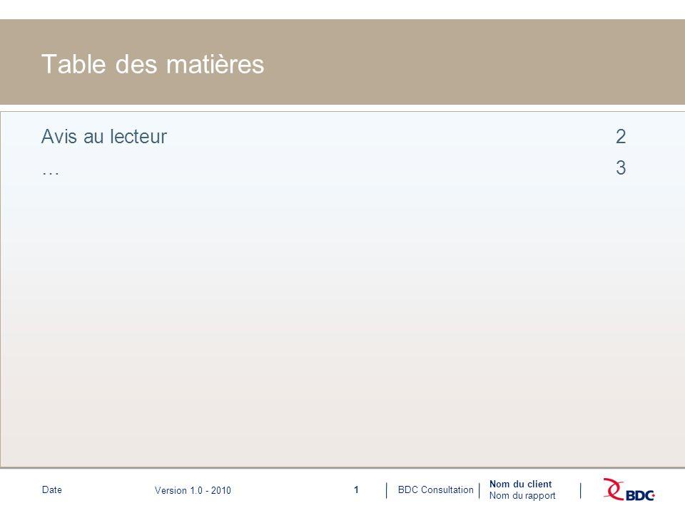 1BDC ConsultationDate Nom du client Nom du rapport Version 1.0 - 2010 Table des matières Avis au lecteur2 …3