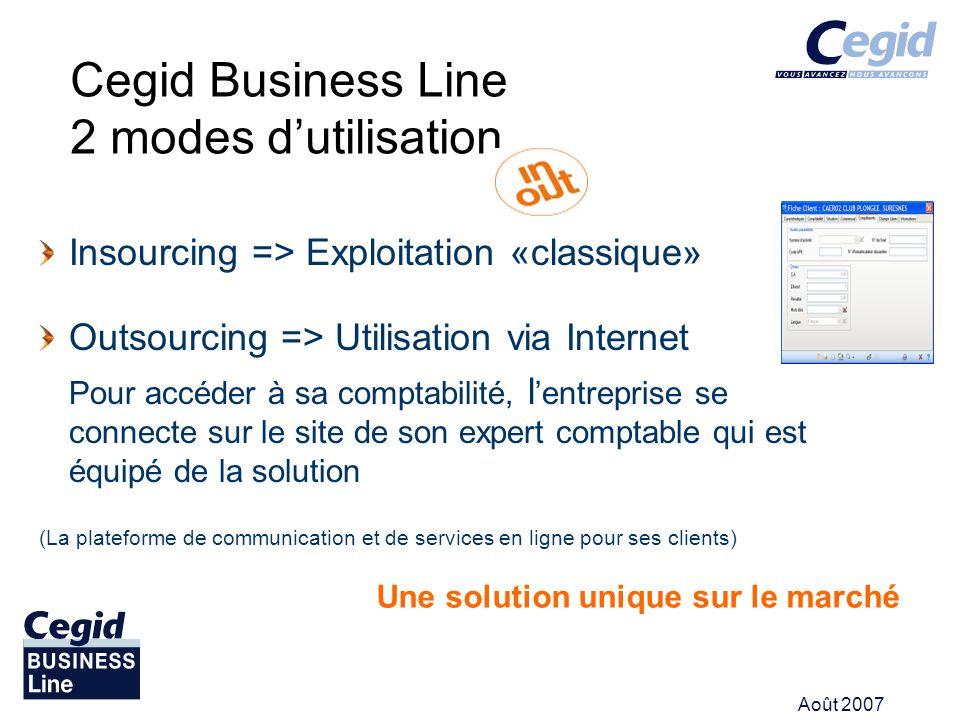 Août 2007 Cegid Business Line 2 modes dutilisation Insourcing => Exploitation «classique» Outsourcing => Utilisation via Internet Pour accéder à sa co
