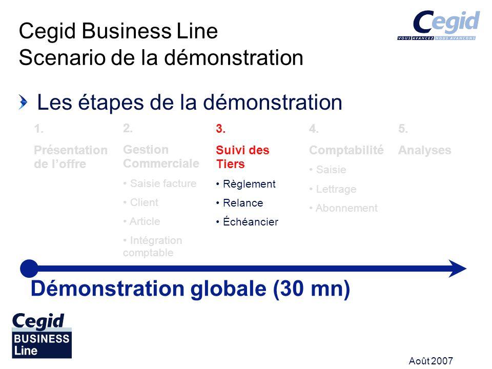 Août 2007 Les étapes de la démonstration Cegid Business Line Scenario de la démonstration Démonstration globale (30 mn) 1. Présentation de loffre 2. G