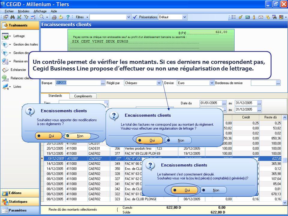 Août 2007 Un contrôle permet de vérifier les montants. Si ces derniers ne correspondent pas, Cegid Business Line propose deffectuer ou non une régular