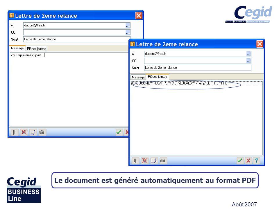 Août 2007 KICK OFF Le document est généré automatiquement au format PDF
