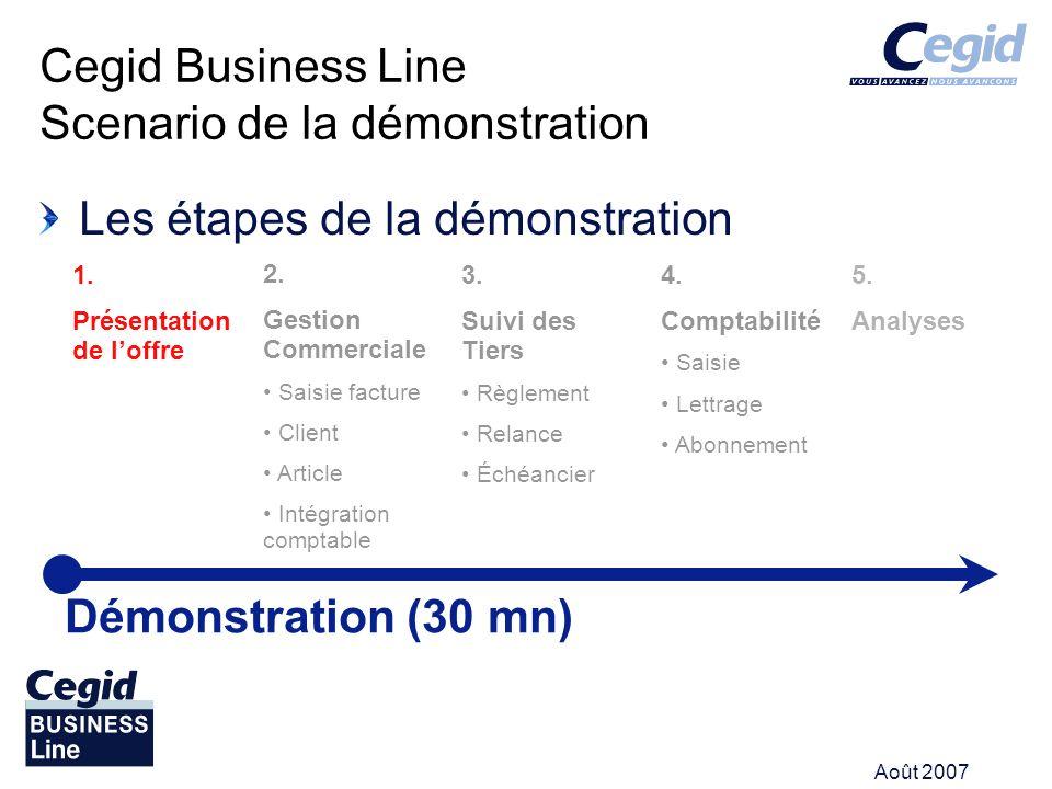 Août 2007 Les étapes de la démonstration Cegid Business Line Scenario de la démonstration Démonstration (30 mn) 1. Présentation de loffre 2. Gestion C