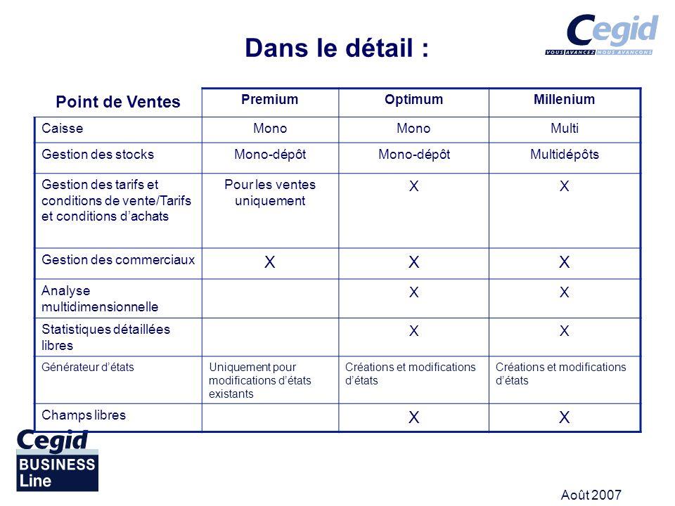 Août 2007 Dans le détail : Point de Ventes PremiumOptimumMillenium CaisseMono Multi Gestion des stocksMono-dépôt Multidépôts Gestion des tarifs et con