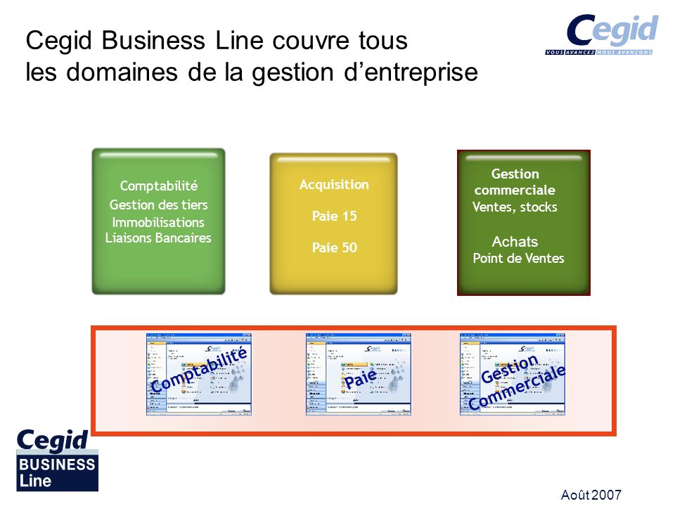 Août 2007 Cegid Business Line couvre tous les domaines de la gestion dentreprise Comptabilité Gestion des tiers Immobilisations Liaisons Bancaires Acq