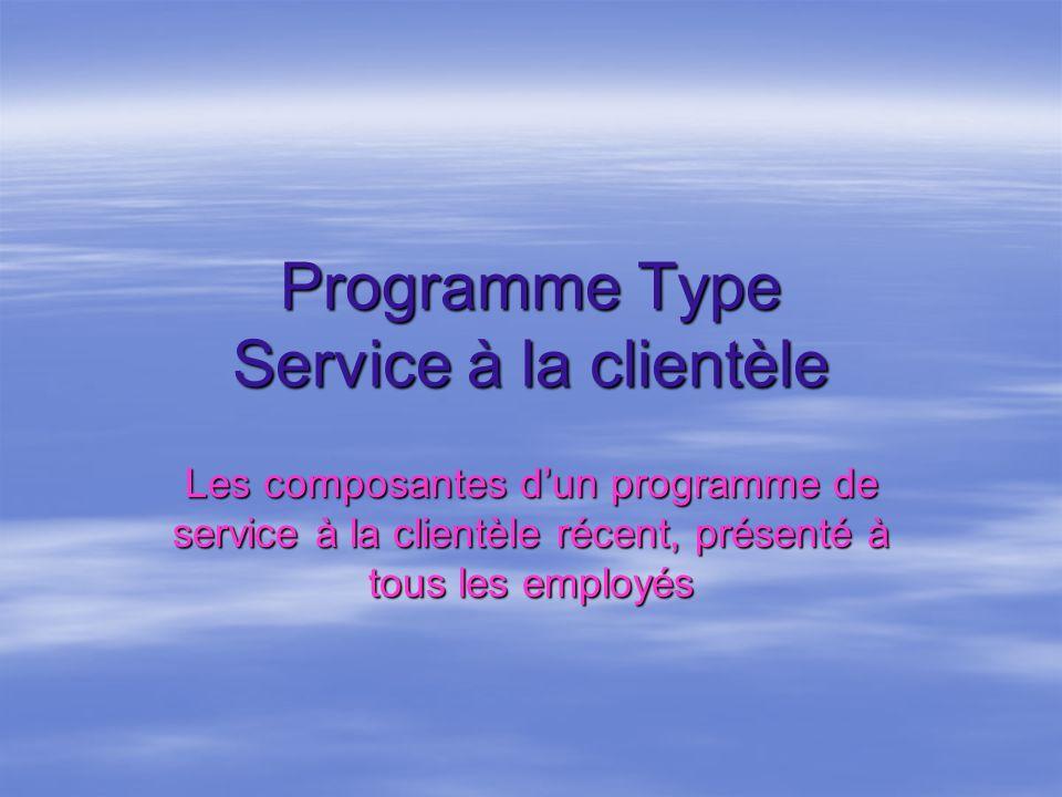 Programme Type Service à la clientèle Les composantes dun programme de service à la clientèle récent, présenté à tous les employés