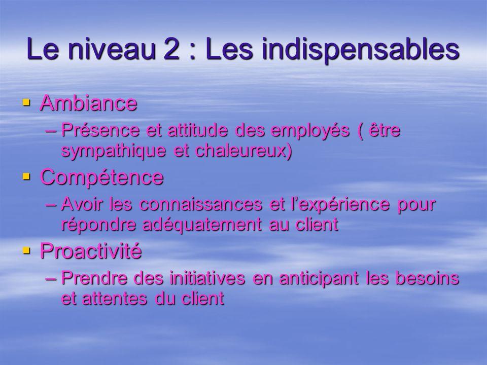 Le niveau 2 : Les indispensables Ambiance Ambiance –Présence et attitude des employés ( être sympathique et chaleureux) Compétence Compétence –Avoir l