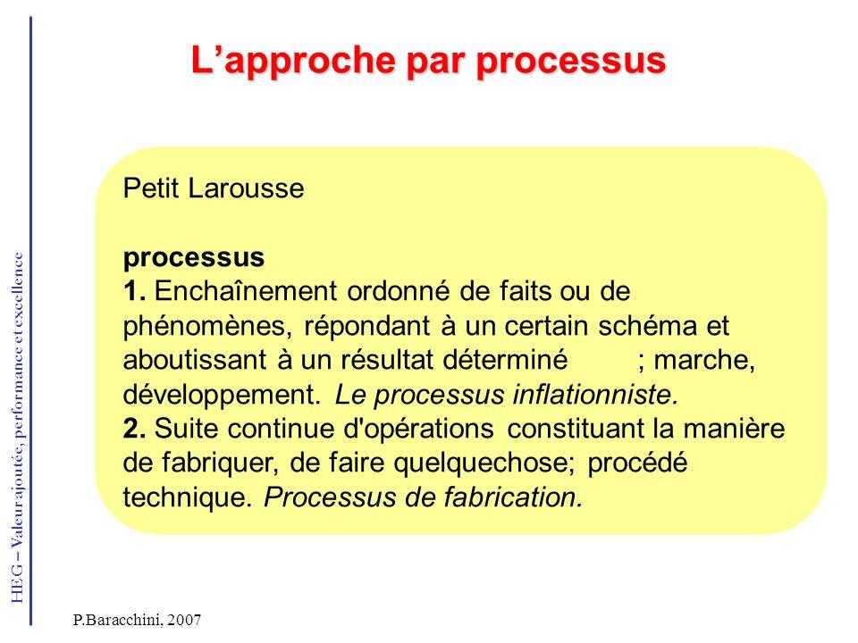 HEG – Valeur ajoutée, performance et excellence P.Baracchini, 2007 Lapproche par processus Petit Larousse processus 1. Enchaînement ordonné de faits o