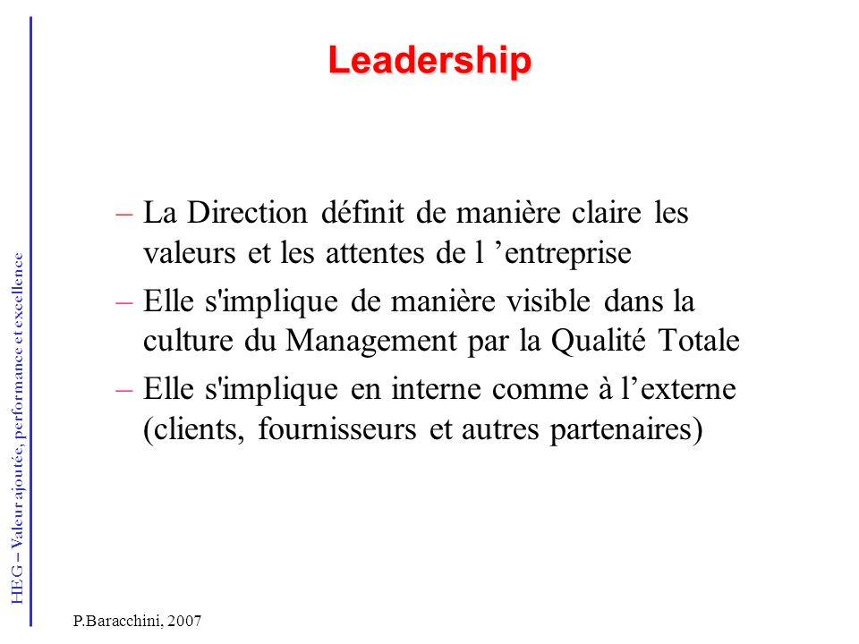 HEG – Valeur ajoutée, performance et excellence P.Baracchini, 2007 Leadership –La Direction définit de manière claire les valeurs et les attentes de l