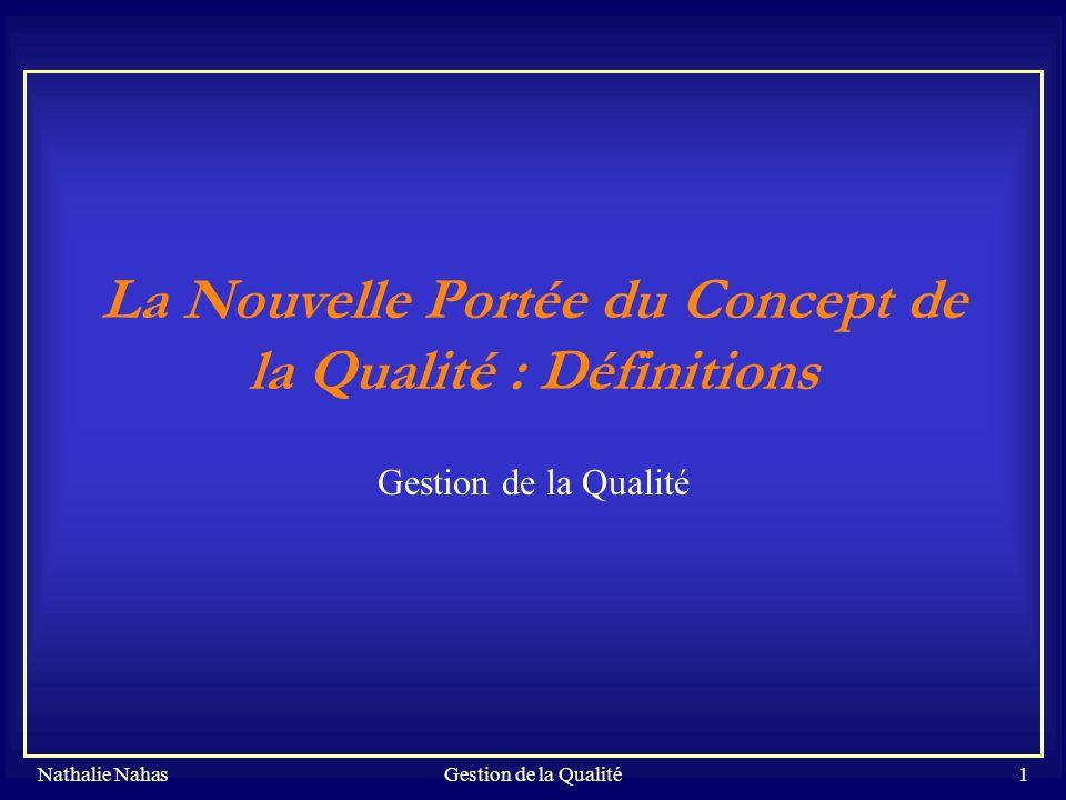 Nathalie NahasGestion de la Qualité32 Les Principes de management en ISO 9001 et en TQM PrincipeISO 9001Au delà d ISO 9001 Relations mutuellement profitables avec les sous contractants Définir et documenter les exigences appliquées aux sous contractants ; évaluer leur performance.