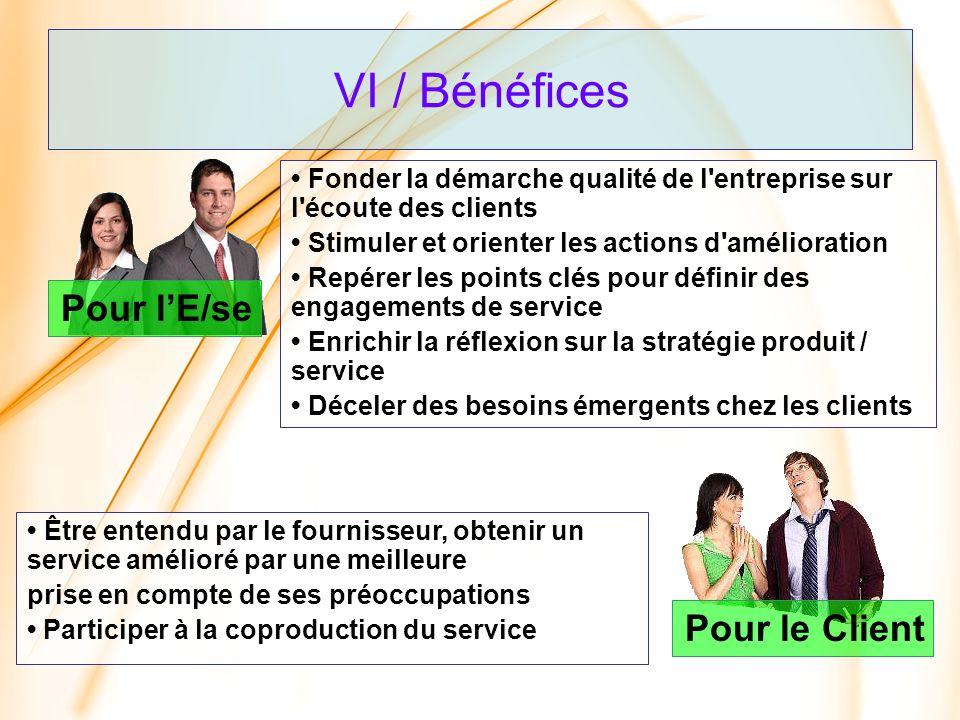 VI / Bénéfices Pour lE/se Être entendu par le fournisseur, obtenir un service amélioré par une meilleure prise en compte de ses préoccupations Partici