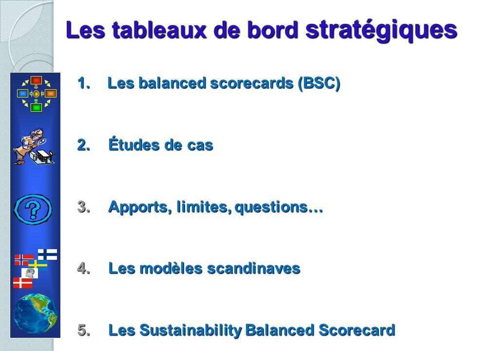 Les tableaux de bord stratégiques 1. Les balanced scorecards (BSC) 2.Études de cas 3.Apports, limites, questions… 4.Les modèles scandinaves 5.Les Sust